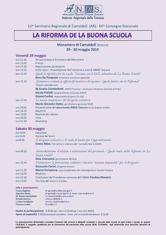 Seminario Regionale ANDIS Toscana Camaldoli - Toscana 29 e 30 maggio 2015